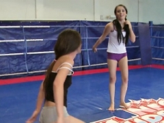 Wrestling beauty snatch dildoed by eurobabe
