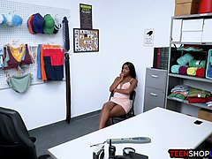 Big booty ebony teen thief busted hard by an officer
