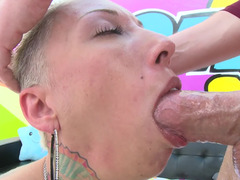 Vulgar bald whore gets analyzed and deepthroated on camera