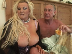 Obese blonde with huge boobs gets humped by older guy