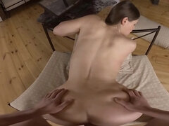 After making her partner hard and stiff, she bends over for his long shaft