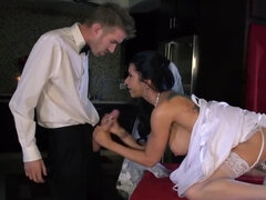 Bride and her lover will engage in a passionate fuck session