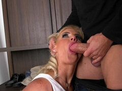 Curvaceous blonde got fucked by a burglar