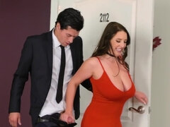 PAWG Angela White gets double penetrated by two rich businessmen