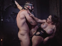 Masked and submissive dude fucks a busty mistress