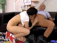 Euro amateur sucks while jerking oldman