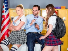 Stunning schoolgirls Izzy Lush and Sophia Lux fuck in the locker room