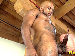 inked homosexual cheeks spread with interracial sans a condom