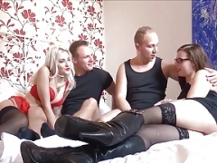 German Exgf Change Foursome with Skinny College 18-19 year old