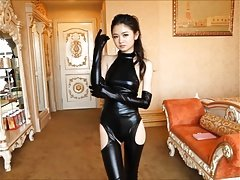 Attractive Japanese girl in spandex