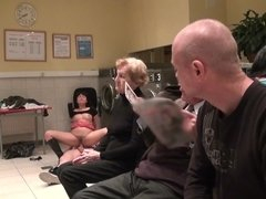 Laundry customers watch shameless brunette enjoying pussyfuck