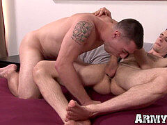 Bottom army gay boy receives xxx rectal from boy