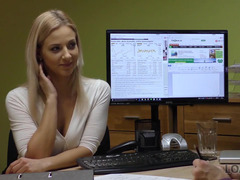 Loan shark coaxes blonde into quick sex in the office