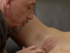 Dirty old man makes daughter in law pole dance and suck cock