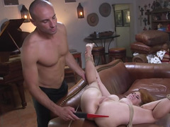 Hogtied love with natural tits has hard sex she will never forget