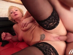 Anal side fuck and sensual blowjob for 40yo mature in lingerie