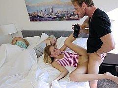 Aroused dad has an intercourse her step-daughter hard