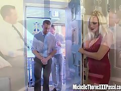 Dirty blonde housewife gets down and dirty two hunky strangers in all her holes