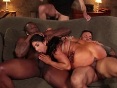 Ebony stallions roughly gangbang smoking-hot brunette MILF