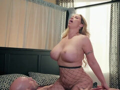 While jumping on a big cock her tits are bouncing up and down