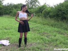 Flat chested teen masturbating outdoors