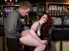 Red haired slut in a bar fucked like a real whore