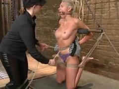 Blonde whore gets doiminated by her man