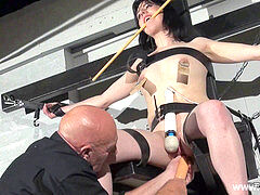 submissive Honesty Cabellero nip clamped and slapped on the punishment