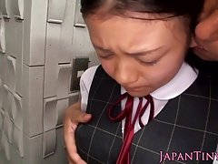 Japanese little boob and moreover facefucked by fella