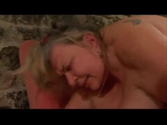 Old Ugly Granny with Saggy Monster Jugs fucking and Sucking cock for cum on tits