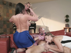Bald man forced to please angry wife and his sexy mistresses